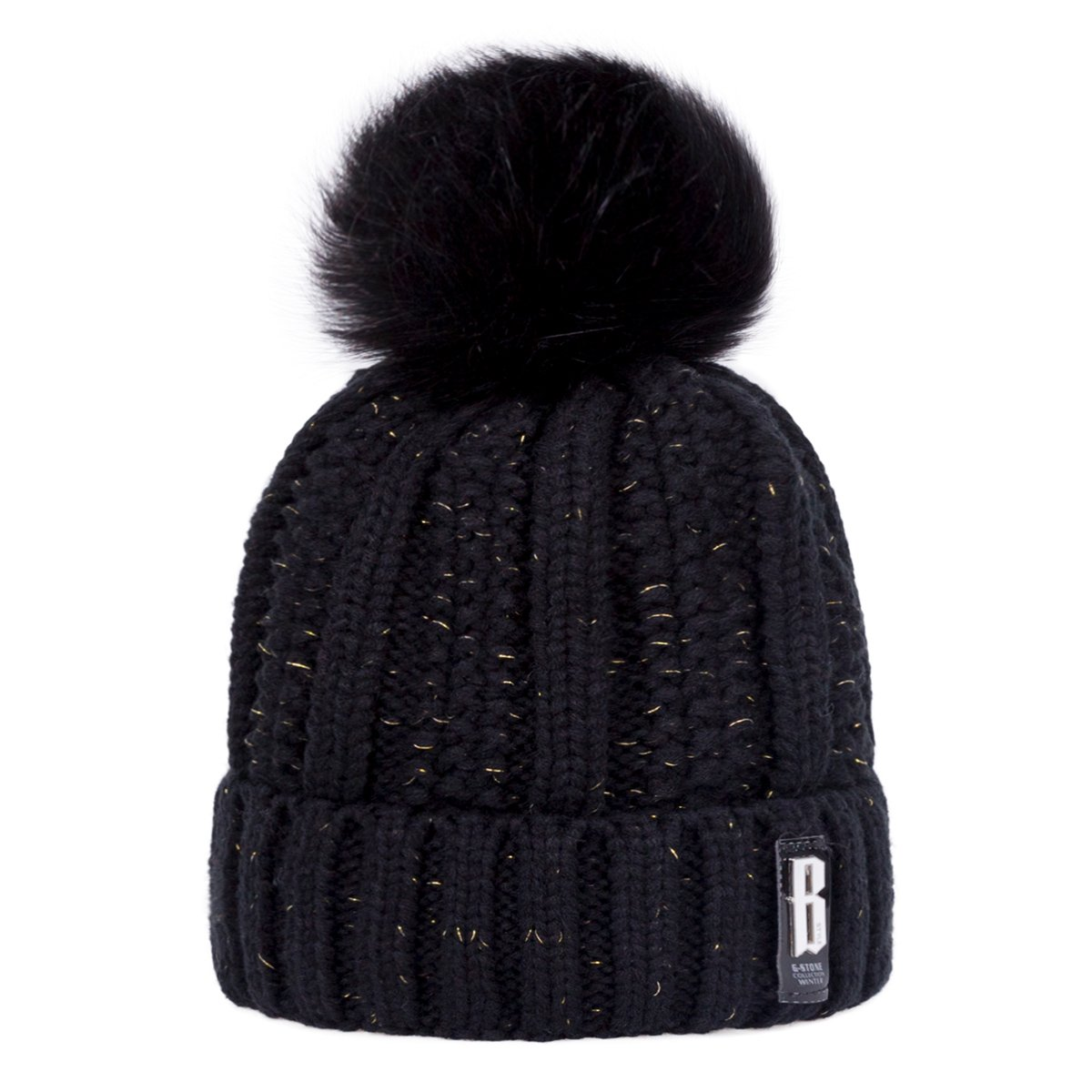 Wish Club Pompom Beanie Hat Women\'s Knitted Winter Hats Girls Soft Fleece Lined Cable Beanie Hats (Black)