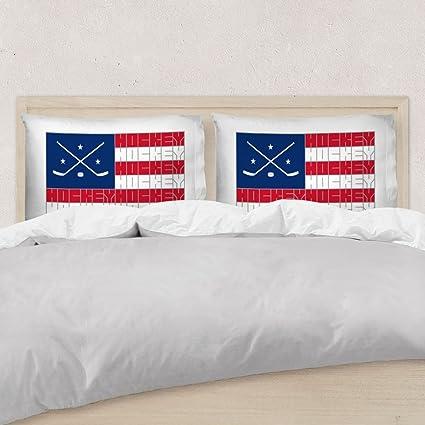 Amazon.com: American Flag Sport Word Stripes Pillowcase | Hockey ...