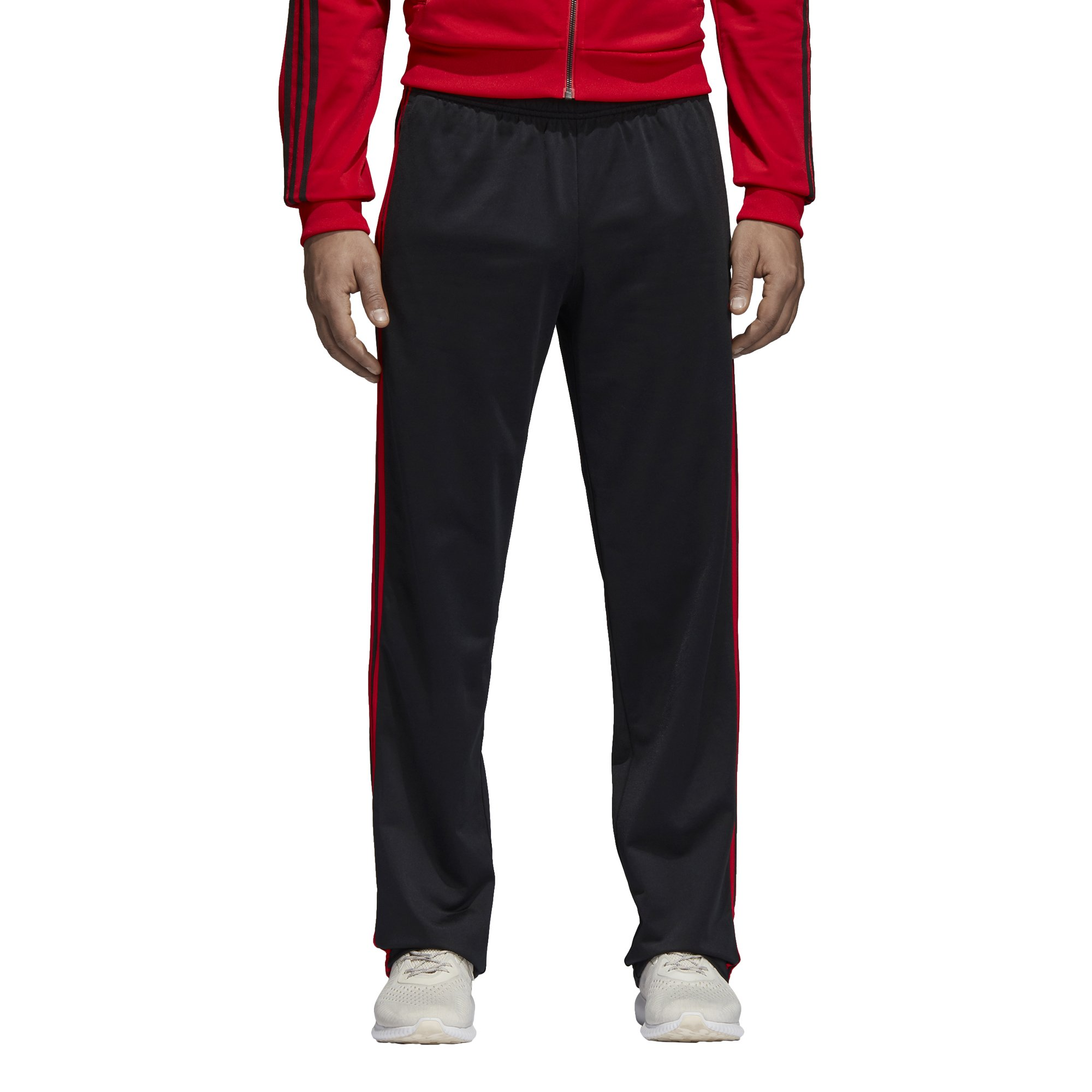 adidas Men's Athletics Essential Tricot 3-Stripe Pants, Black/Scarlet, Small by adidas (Image #1)