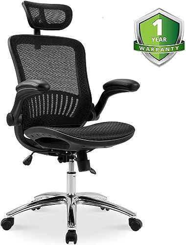Ergonomic Mesh Home Desk Office Chair and Plating Base Headrest Height Adjustable Breathable Material Tilt Locking Mechanism, New-Black