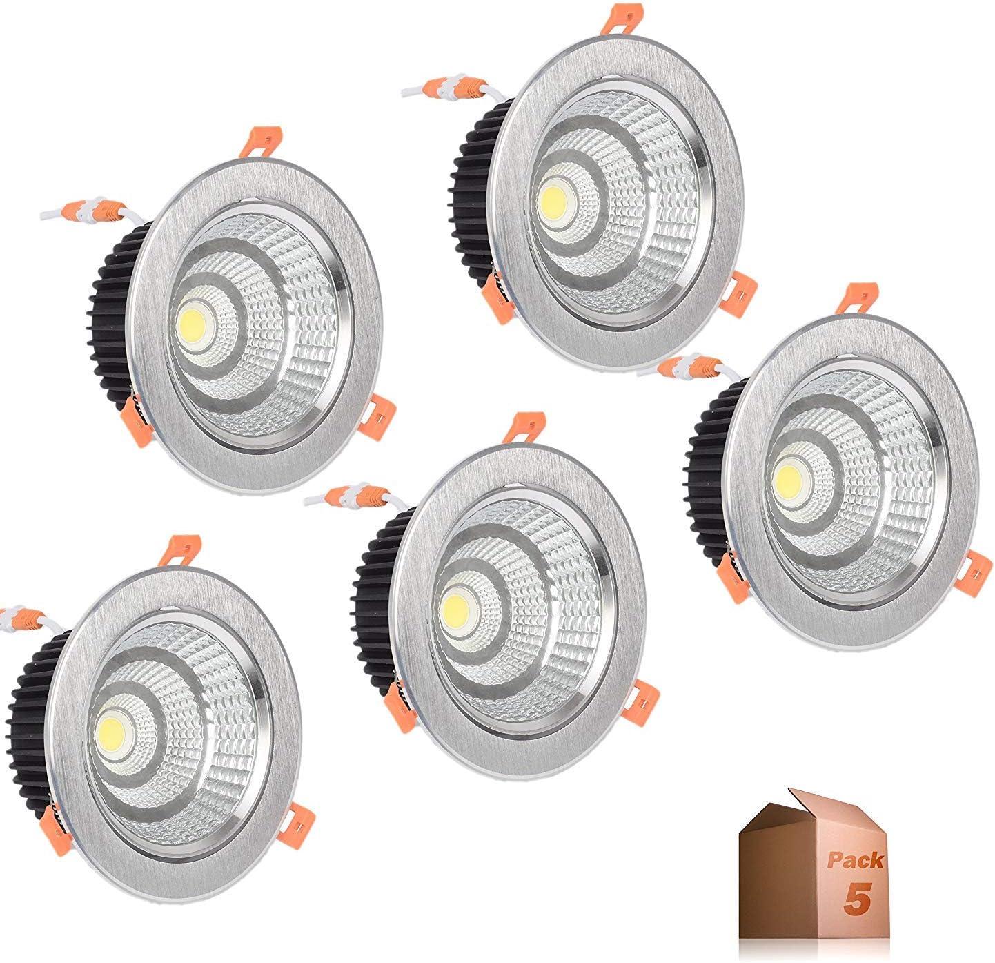 Foco Downlight LED 5W Aro Plateado Luz Fría 6000k (Pack 5) Ø85mm ...