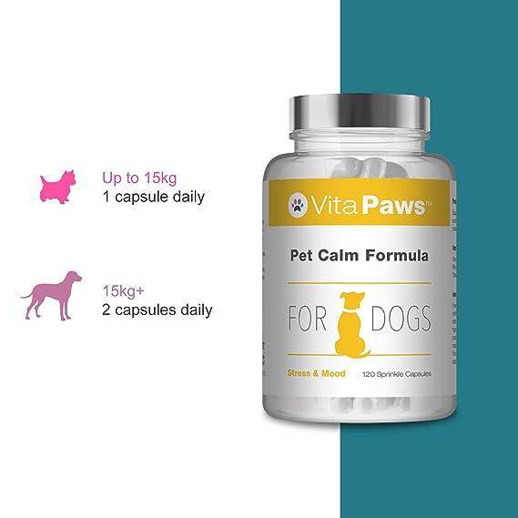 VitaPawsTM Fórmula calmante para perros | 120 cápsulas para espolvorear | Indicado para perros que sufren de estrés o ansiedad: Amazon.es: Salud y cuidado ...