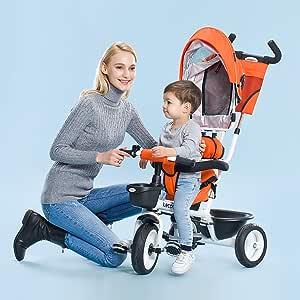 Niños triciclo, bicicleta Empuje de mano bebé Cochecito de bebé ...