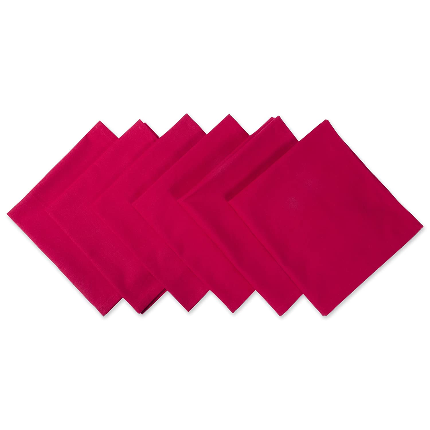 Oversized Tango Red Cotton Dinner Napkins Set of 6 | ChristmasTablescapeDecor.com