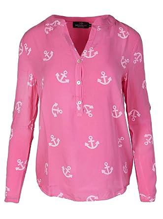 ad8efb818606 Zwillingsherz Bluse Damen mit Anker - Sommer Hemd - Hochwertige Schöne und luftige  Tunika Chiffon Blusen für Frauen - Elegantes Langarm Oberteile T-Shirt ...