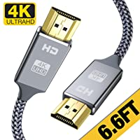 4K HDMI Cable 6.6 ft,Capshi High Speed 18Gbps HDMI 2.0 Cable,4K, 3D, 2160P, 1080P...