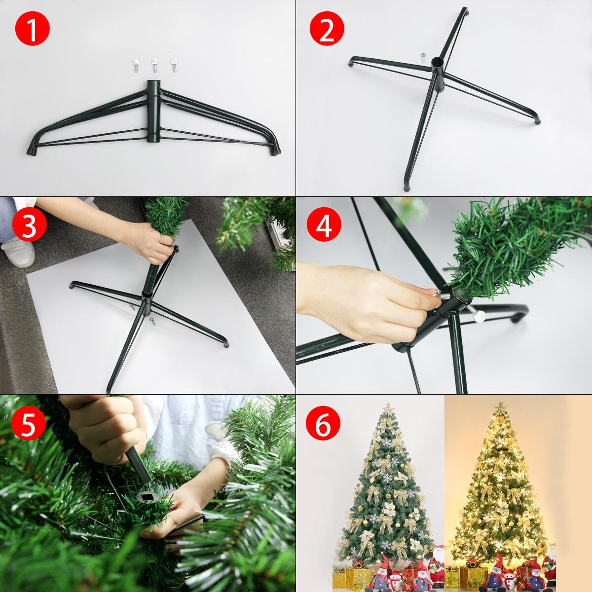 Isuper Árbol de Navidad Artificial 180Cm Christmas Tree 750 Ramas ...