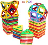 shengqing 30 PCS Magnetic Tiles Building Blocks Set,cossy Magnet Tiles Building Block, Perfect Educational Toys for Kids Chil