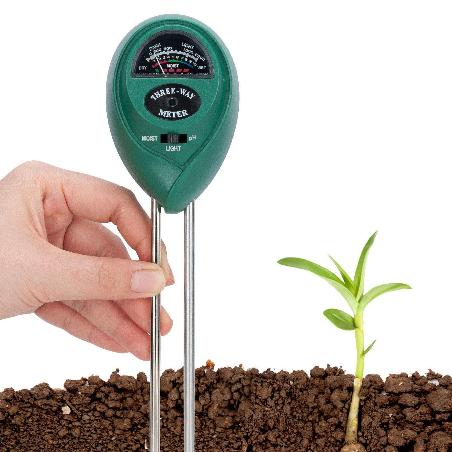 Covvy Soil Tester 3 in 1 Water Moisture Meter Acidity Humidity Light Probe Test Kit Gardening Tools for Home Lawn Farm Indoor or Outdoor Plant Care