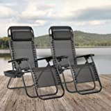 Zero Gravity Chair Seat Adjustable Patio Lounge Recliner Chair Set of 2 with Cup Holders Pillow for Patio Outdoor Yard Beach