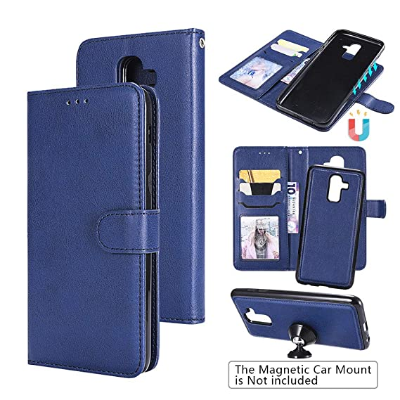 new york 6c289 8ae25 Samsung J8 Wallet Case, Samsung Galaxy J8 Cases, J8 Case, 2-in-1  Wallet-Case Flip Leather Cases Magnetic Detachable Slim Back Cover Card  Holder Slot ...