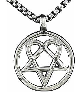 Pewter heartagram him pentagram and heart pendant on leather mens heartagram heart pentagram pentacle magic star pendant necklace aloadofball Choice Image
