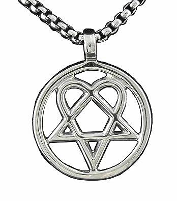 Mens heartagram heart pentagram pentacle magic star pendant mens heartagram heart pentagram pentacle magic star pendant necklace aloadofball Image collections