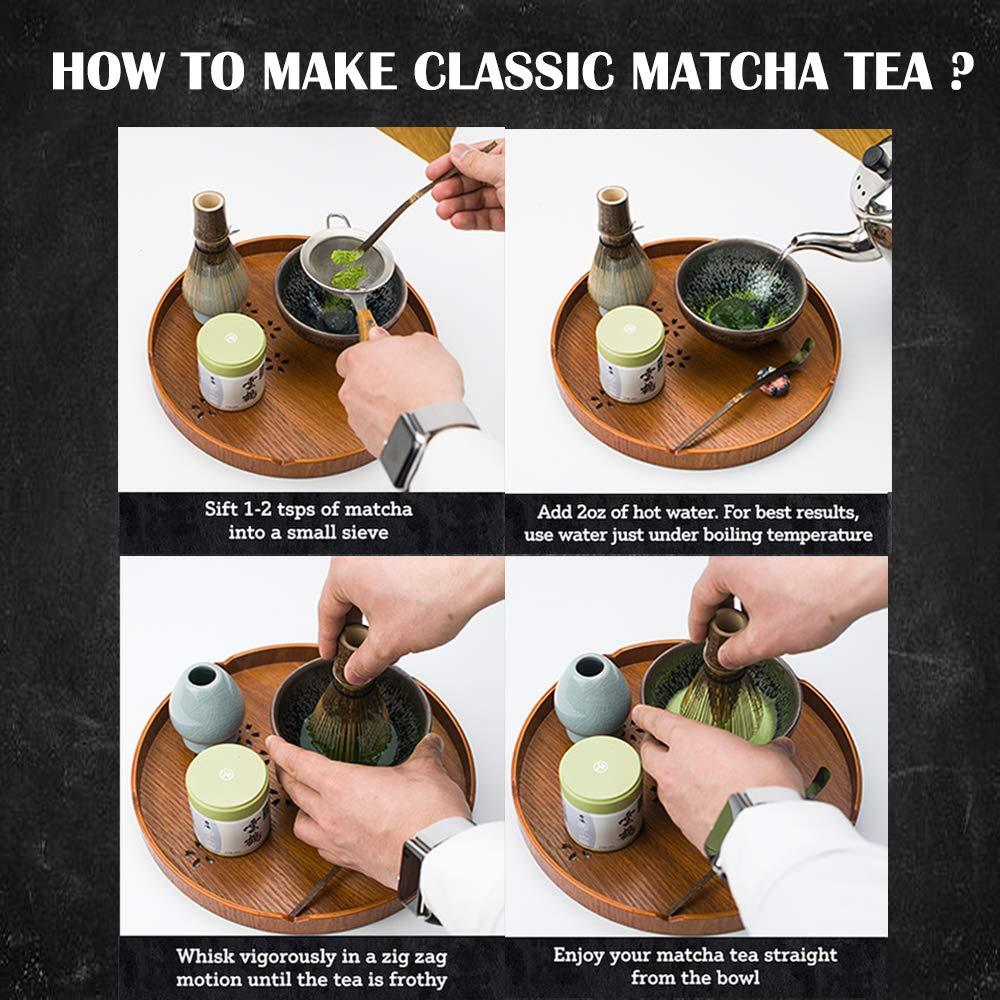 Bamboo Matcha Tea Whisk Set (Chasen) Bamboo Scoop (Chashaku) Ceramic Whisk Holder Ceremonial Starter Matcha Kit for Traditional Japanese Tea Ceremony (plum green) by LTLR (Image #4)