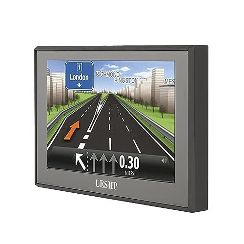 Navigateur GPS Voiture 5 Pouces LESHP GPS Auto Cartes du Royaume-Uni, de l'Irlande et de l'Europe, mises à jour de carte gratuites à vie Multimédia 8 Go