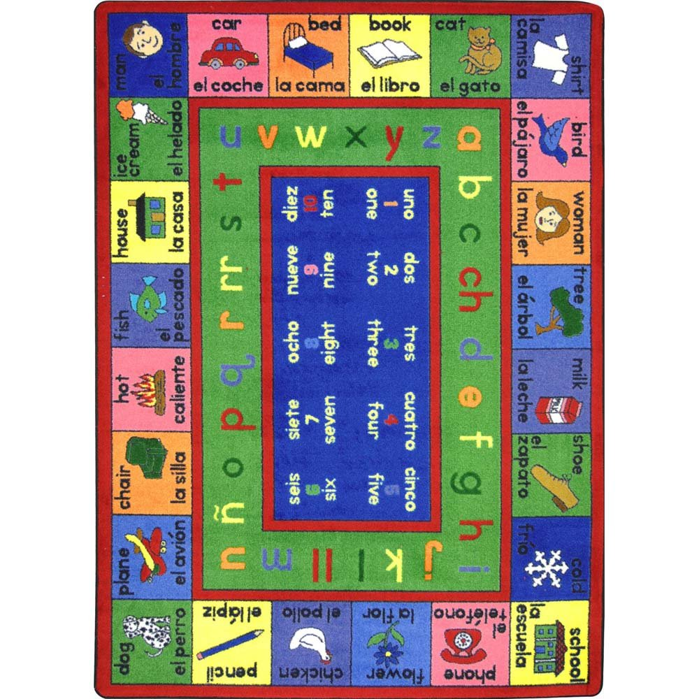 Amazon.com: Joy Carpets Kid Essentials Language & Literacy Spanish LenguaLink Rug, Multicolored, 54