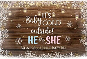 Funnytree 7x5ft Rustic Wooden Gender Reveal Party Backdrop It's Cold Outside He or She Baby Shower Photography Background Winter Snowflake Pink Blue Boy or Girl Dessert Decorations Photo Booth Banner