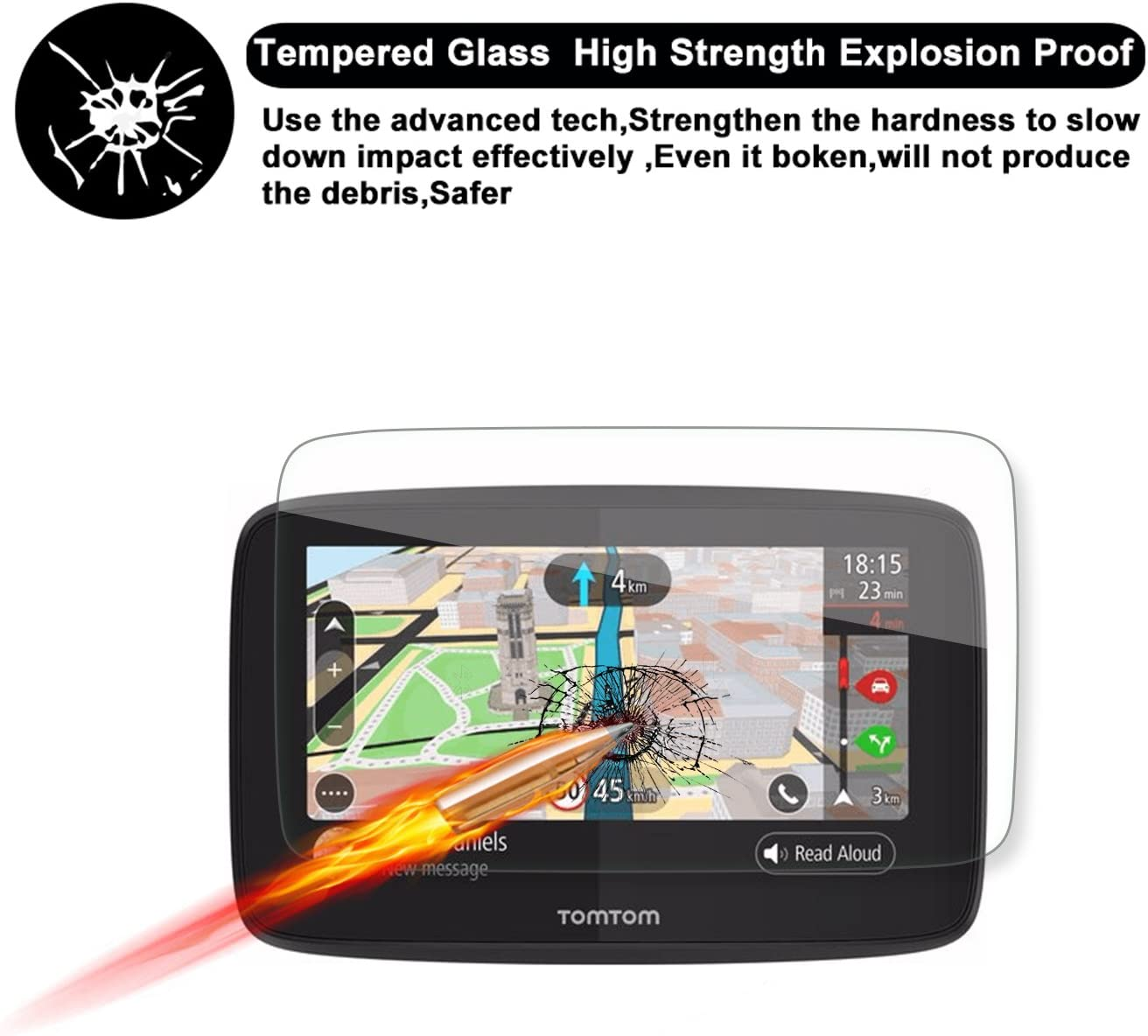 R RUIYA HD Clear Tempered Glass Screen Guard Shield Scratch-Resistant Ultra HD Extreme Clarity Special for Tomtom GO 520 5200 GPS 5-Inch Display Navigation Screen Protector