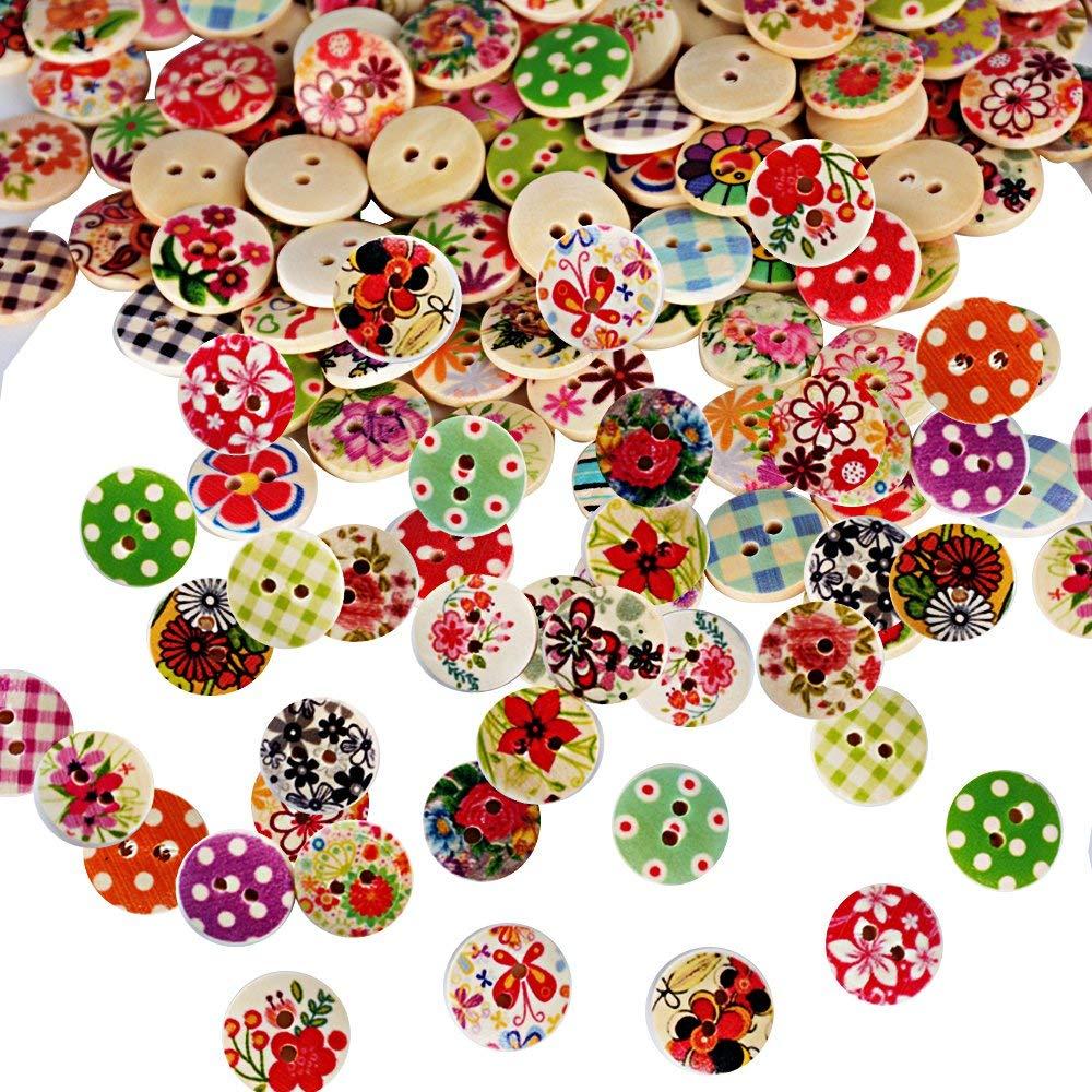 Febbya Holzkn/öpfe,100er Pack Kn/öpfe Runde Kinderknopf f/ür Bastel N/ähe DIY Kinderkleidung Deko Accessoires Durchmesser 1.5CM