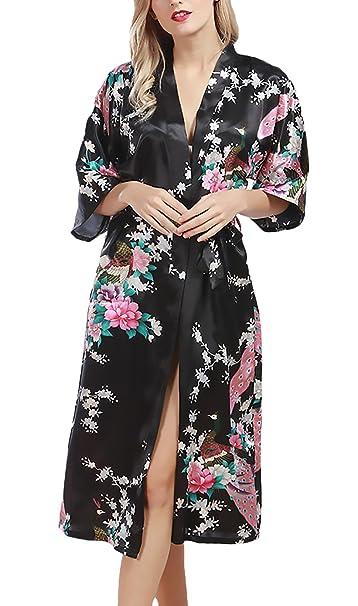 Batas Mujer Tallas Grandes Elegante Mangas 3/4 V Cuello Impresión Floral Baño Joven Bastante Albornozes Casual Moda Homewear Confort Pijamas Woman Cinturón ...
