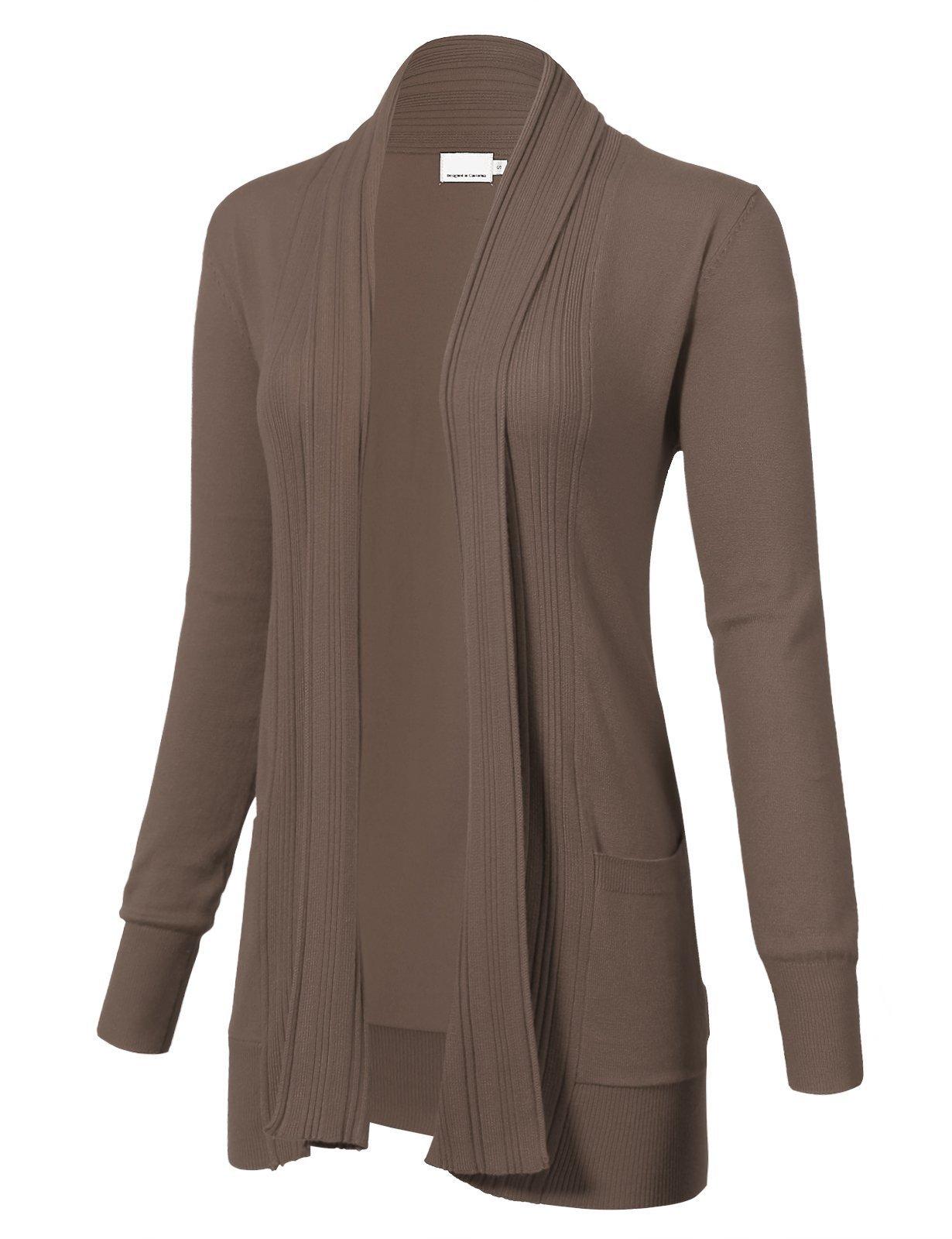 ARC Studio Women's Long Sleeve Open Front Draped Cardigans Pocket XL Camel