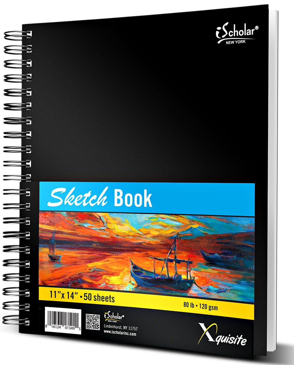 iScholar Xquisite Sketch Book, Double Wirebound, 50 Sheets, Black, 11 x 14 Inches (41114)