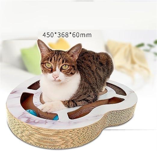 Juguete interactivo para mascotas Creatividad cabeza en forma de placa giratoria de gato con bola de papel corrugado Placa de rayado de gato Placa giratoria para gato de juguete interactivo Juguete de: