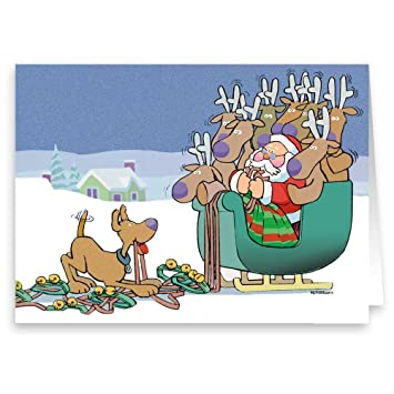 e21edd4fec6 Image Unavailable. Image not available for. Color  Cute Dog Scares Reindeer  Funny Christmas Card ...