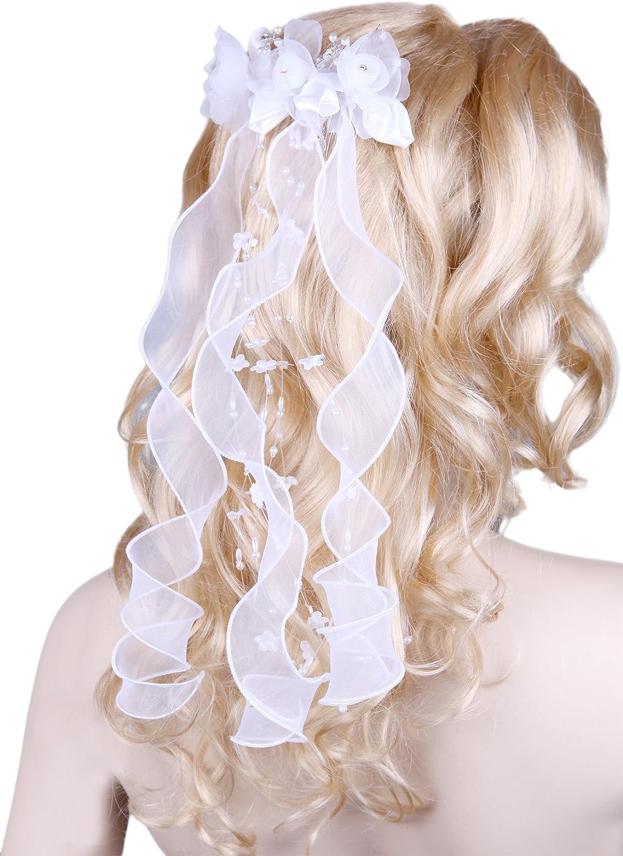 Girls Multicolor Headdress Headband w// Veil Wedding Flower Girl Communion LD