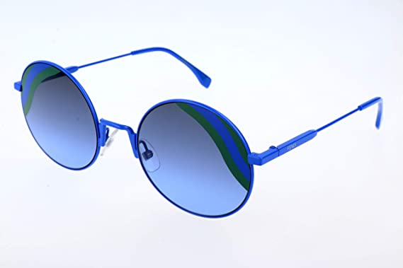 b786796d584dc Fendi FF 0248 PJP Waves Blue Metal Round Sunglasses Blue Green Striped Lens