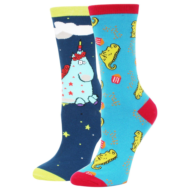 Women's Novelty Funny Crazy Unicorn Dinosaur Crew Dress Socks,2Pack Gift Box Socks