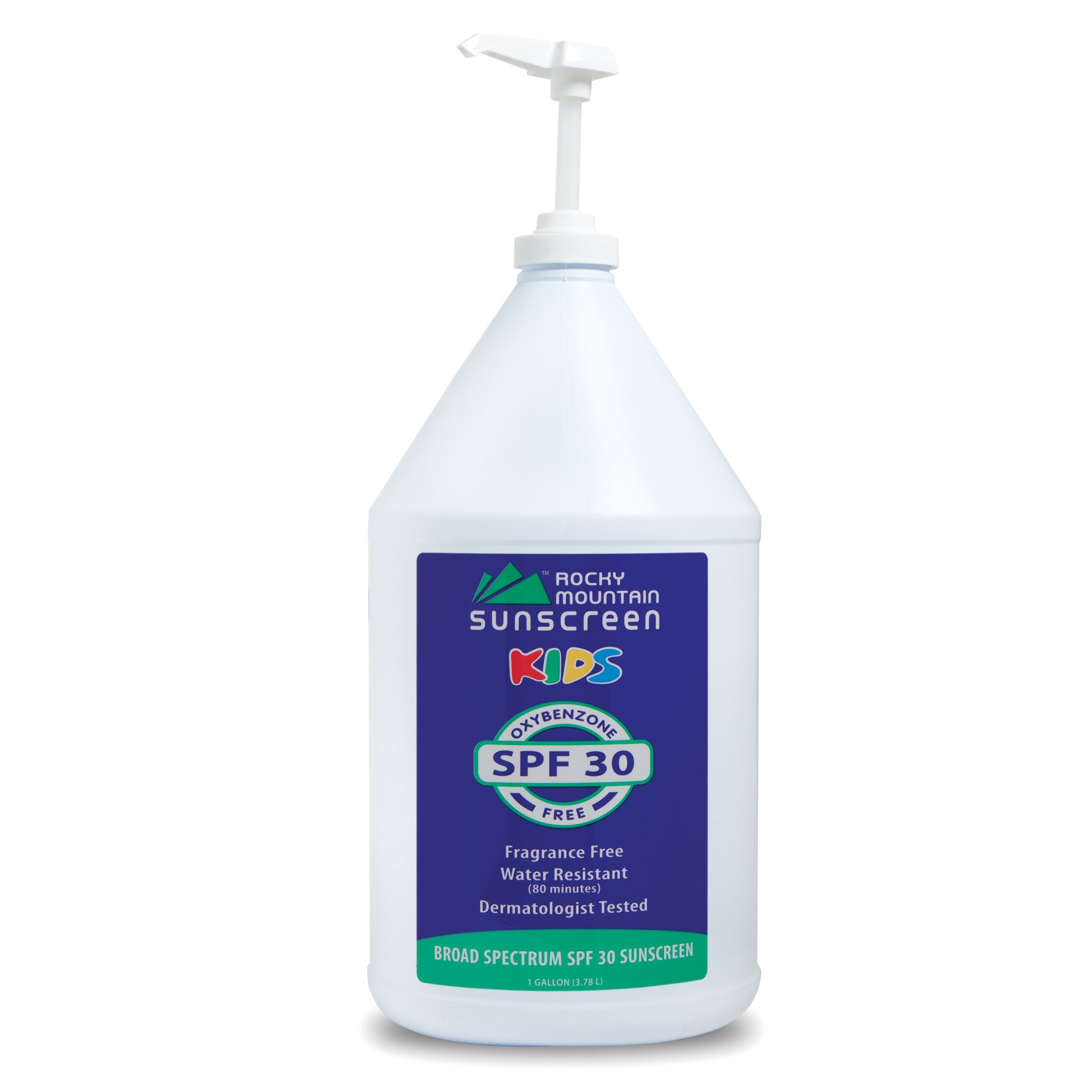 Rocky Mountain Sunscreen - Kids, Gallon, SPF 30 - Oxybenzone Free - Gluten Free - Broad Spectrum and 80 Minute Water Resistant Bulk Lotion