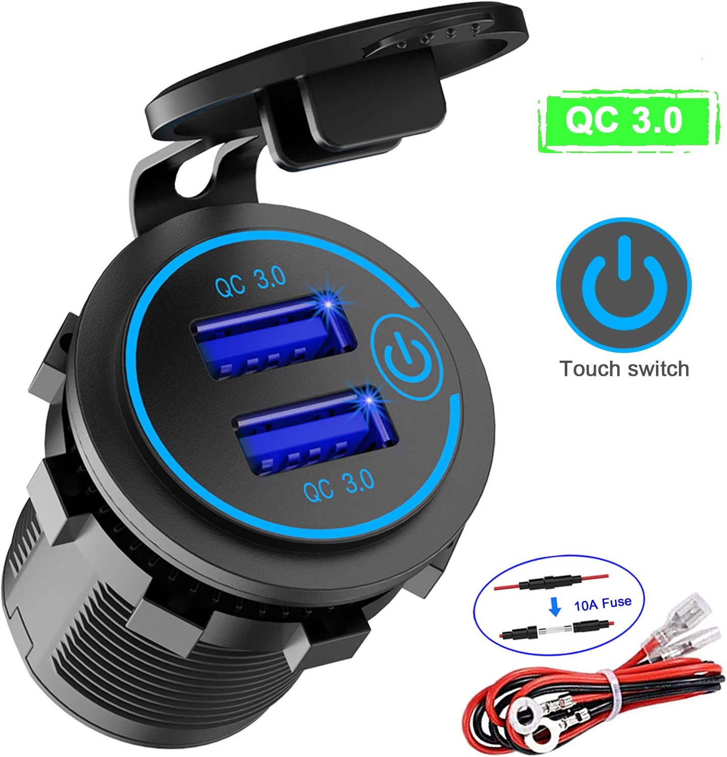 Quick Charge 3.0 Dual USB Charger Socket Waterproof 12V//24V QC3.0 Dual USB Fast Charger Socket Power Outlet with Touch Switch for Marine Motorcycle Truck and More Boat
