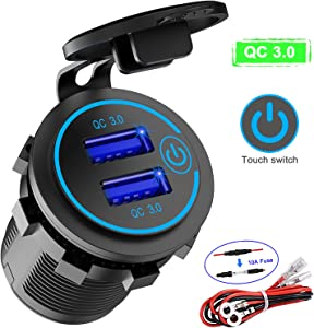 Quick Charge 3.0 Dual USB Charger Socket, Waterproof 12V/24V QC3.0 Dual USB Fast Charger Socket Power Outlet with Touch Switch for Car, Marine, Boat, Motorcycle, Truck and More