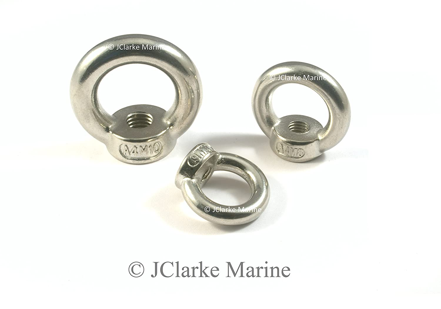 M5 M6 M8 M10 M12 Stainless steel eye nuts female eye bolt made from marine grade stainless 316 A4 (4, M8) JClarke Marine
