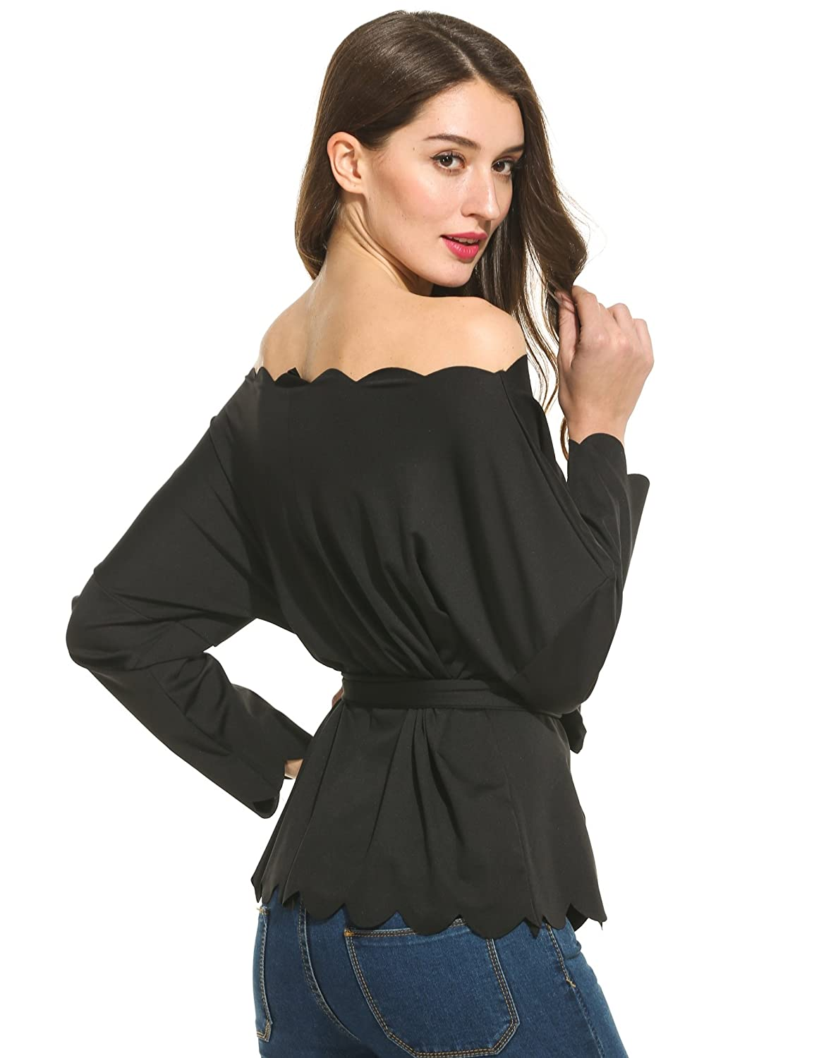 10d4f498e9037 BEAUTYTALK Women s Off The Shoulder Top Blouse Long Sleeve with Waist-tie  at Amazon Women s Clothing store