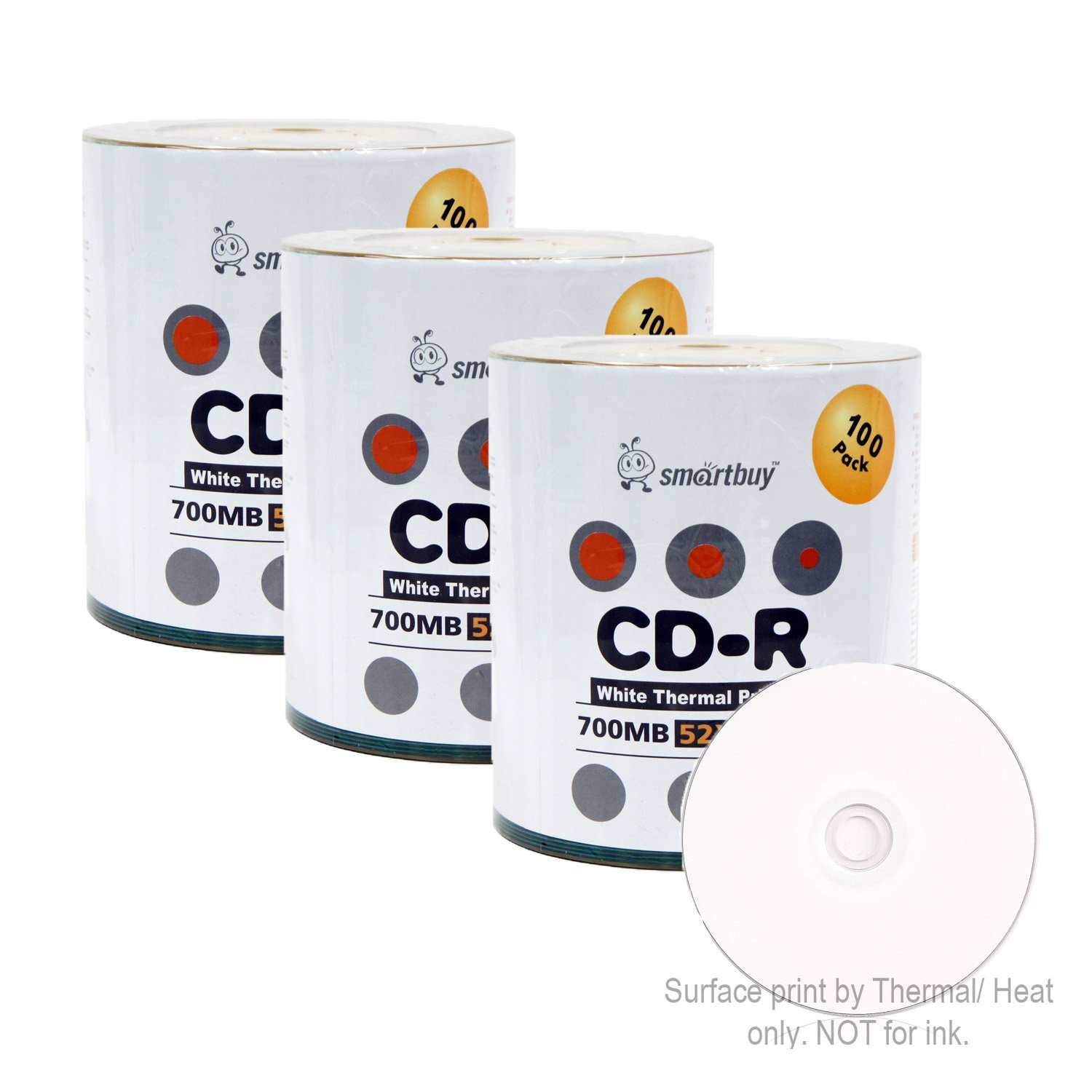 Smart Buy CD-R 300 Pack 700mb 52x Thermal Printable White Blank Recordable Discs, 300 Disc, 300pk by Smart Buy