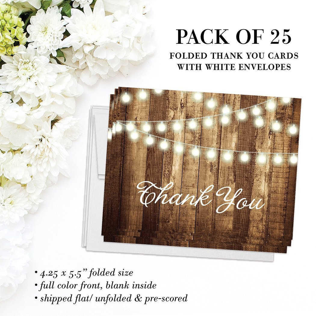 Rustic Thank You Cards with Envelopes (Pack of 25) Strings of Lights Folded Thank You Notes Excellent Value Thank You Notecards VT0007B