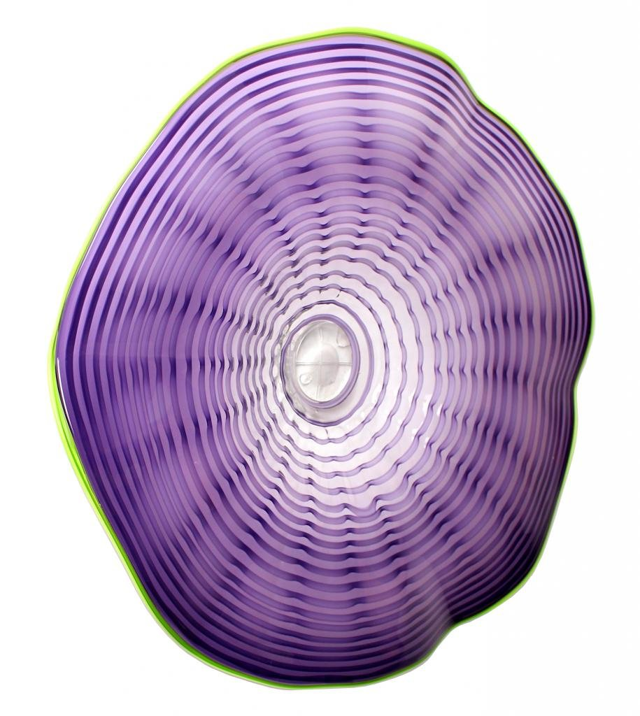 New 25'' Hand Blown Art Glass Table Platter Plate Purple Green Wall Hanging Mount by Exquisite Glass Decor