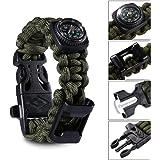 Elephant Outdoor Paracord Bracelet - 4 Colors 3 Sizes Camping Gear with Compass, Knife Scraper, Whistle, Flint Fire Starter, Bottle Opener, Fit Men, Women, Kids – A Must Have Survival Gear
