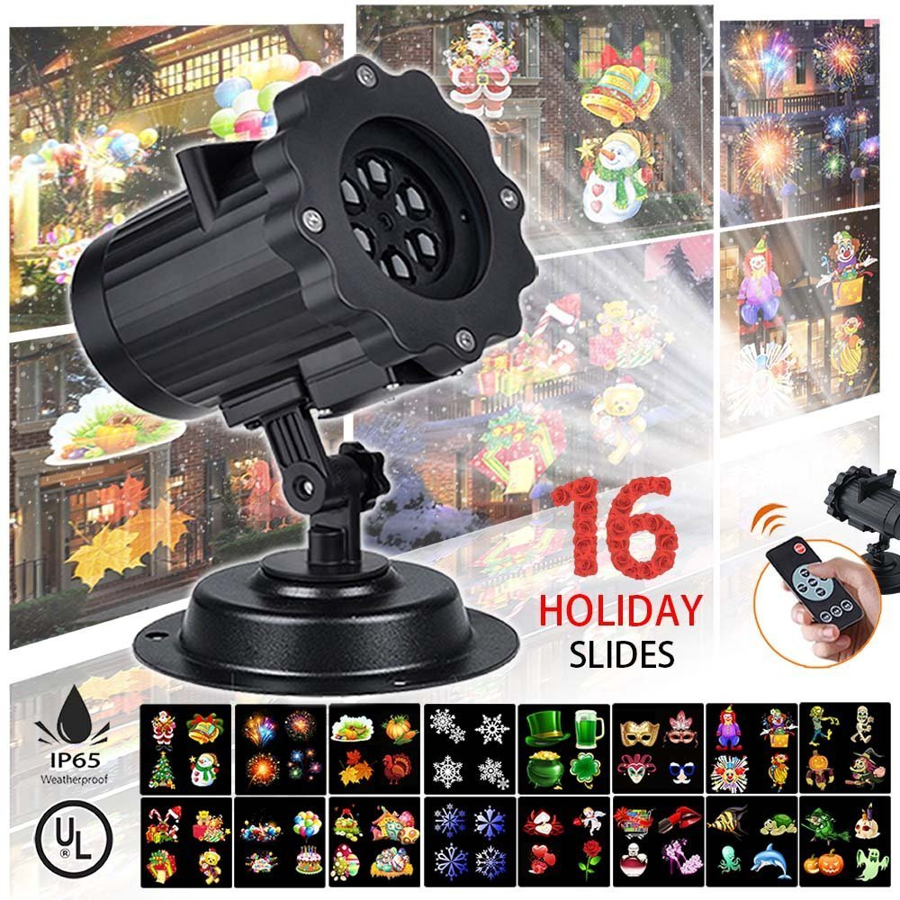 Projector Light 2017 Upgrade Version 16 Exclusive Design Slides IP65 Waterproof Garden Lamp Lighting for Christmas Halloween Holiday Party Wedding Garden Decoration