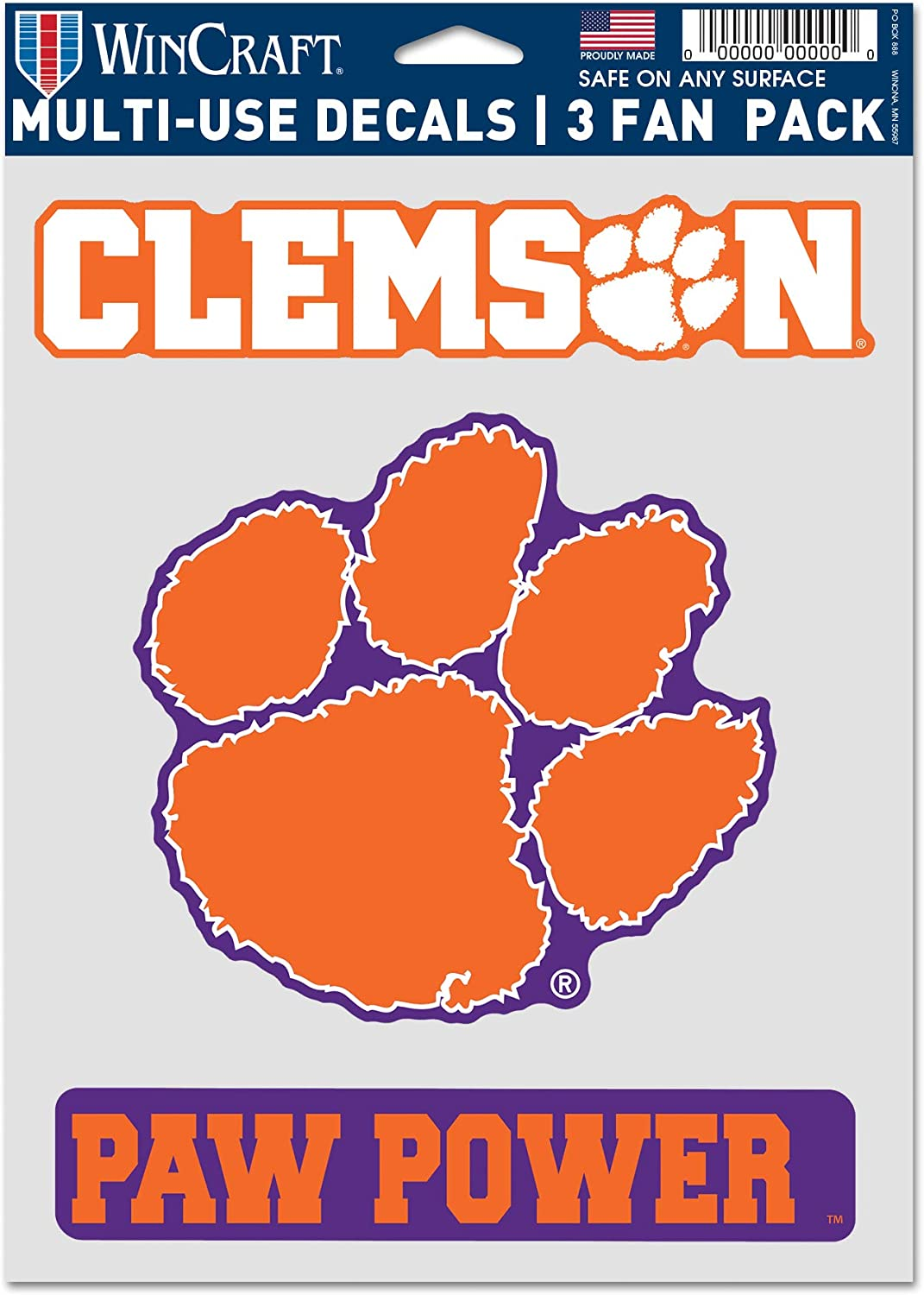 WinCraft NCAA Clemson University Tigers Multi-Use Decal 3 Fan Pack, Team Colors, 5.5