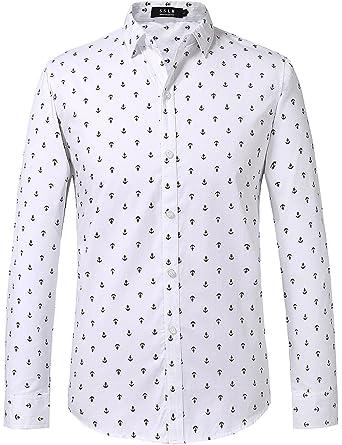 SSLR Mens Cotton Anchor Printing Long Sleeve Shirts at Amazon Mens Clothing store: