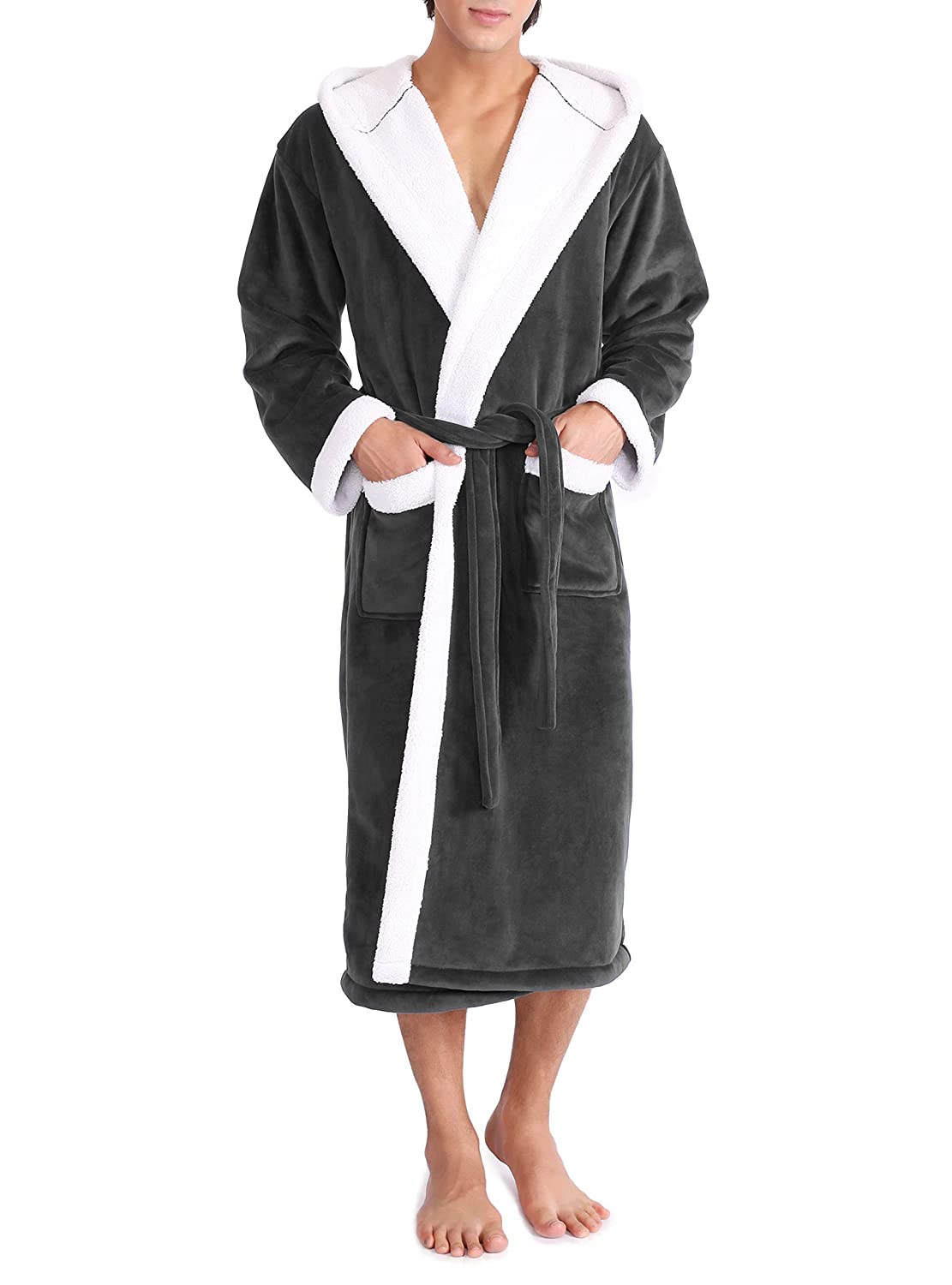 Genuwin Men's Hooded Bathrobe Luxury Velour Berber Fleece Soft Bath Robe Invisible Pockets Belt Warm Nightwear Dressing Gown Men Full Length
