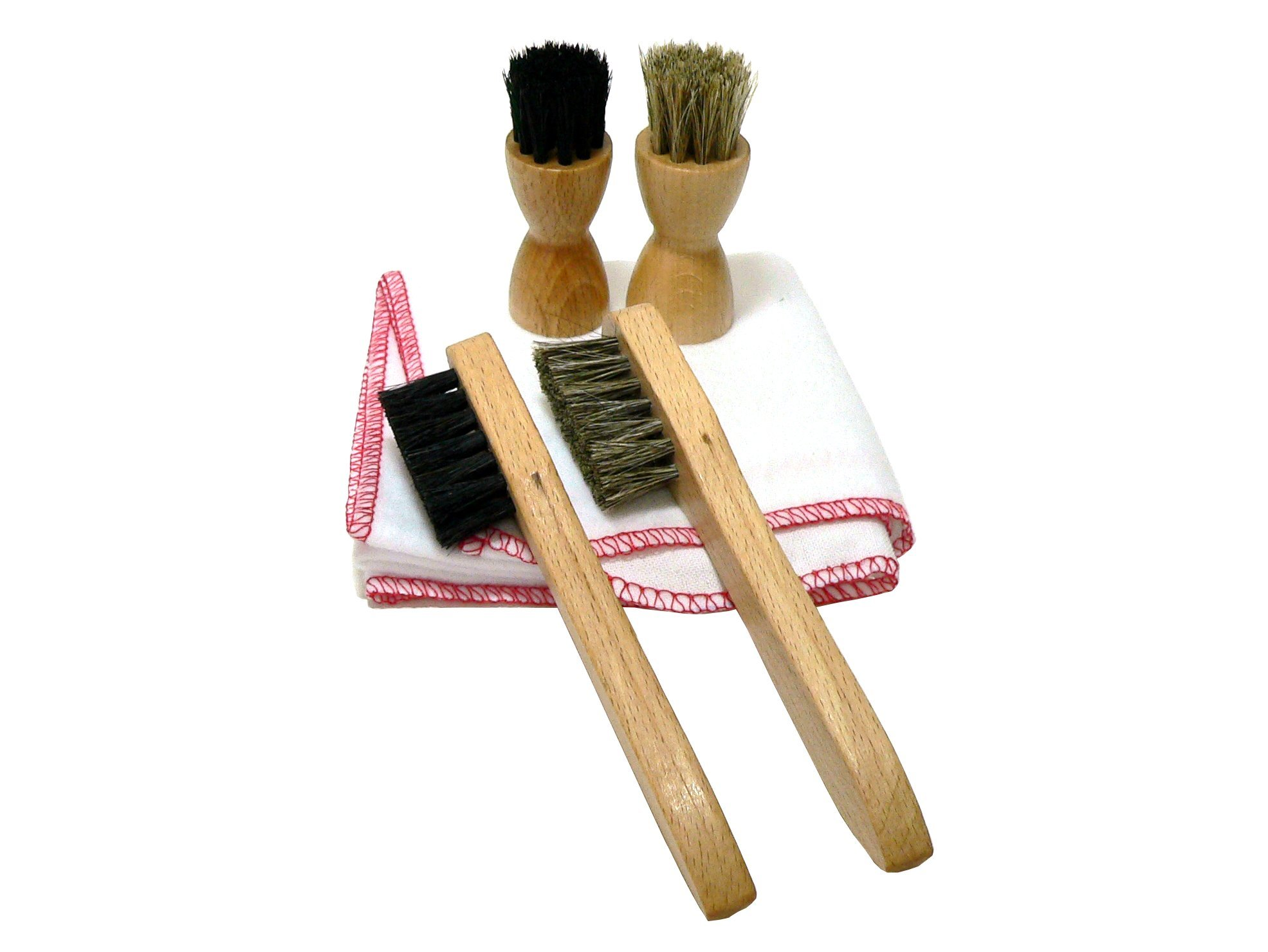 4 Shoe Cream Applicator Brushes with Buffing Cloth for Shoe Care Genuine HorseHair All Natural by Valentino Garemi