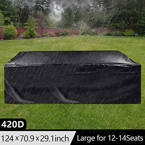 Outdoor Furniture Covers Waterproof,Cyanbamboo Patio Furniture Covers 420D Oxford Polyester Large Size 315X180X74cm for 12-14 Seat Patio Table Chair Windproof UV Protective Furniture Set Covers Black
