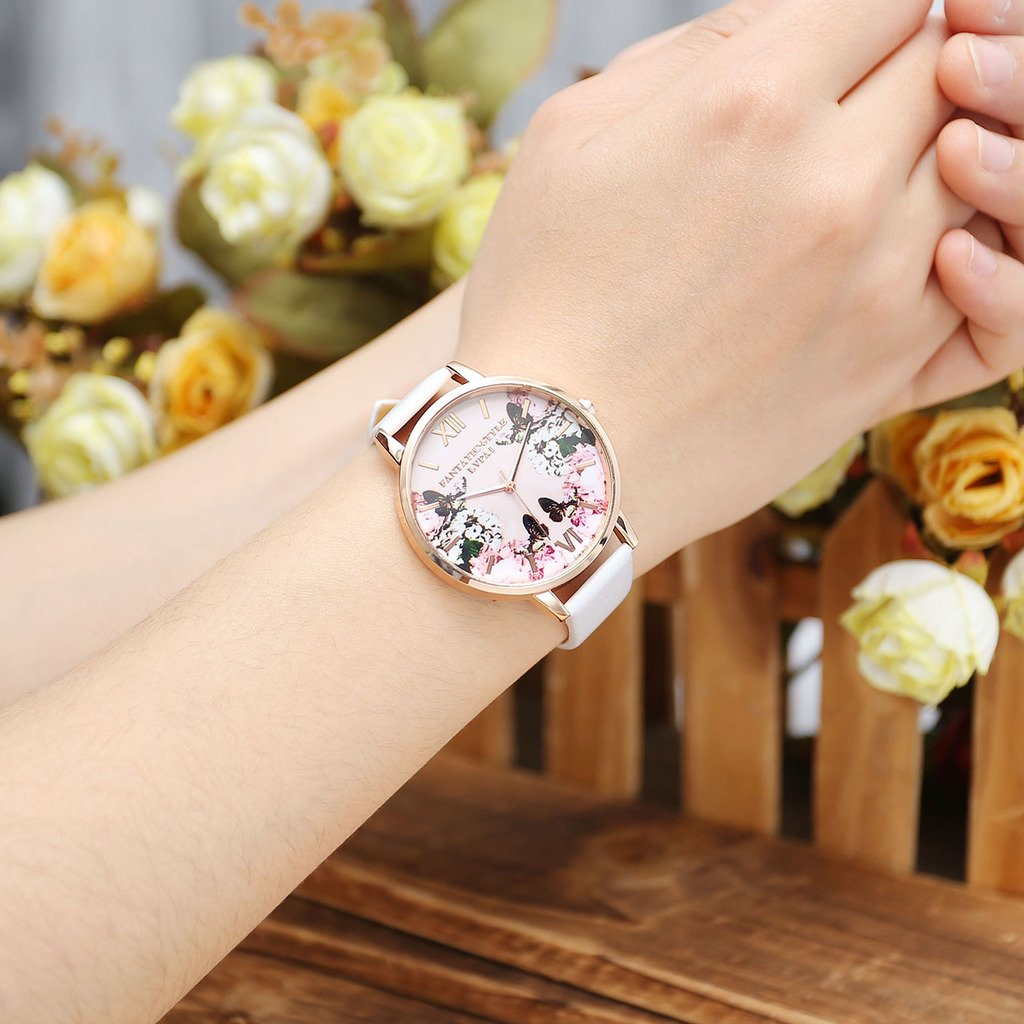 JSDDE Uhren,Modische Schmetterling Blumen Armbanduhr Basel-Stil Damen Uhr PU Lederband Rosegold Analog Quarzuhr,Weiss