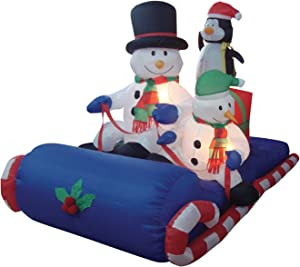 BZB Goods 6 Foot Long Christmas Inflatable Snowman Penguin on Sleigh Yard Decoration