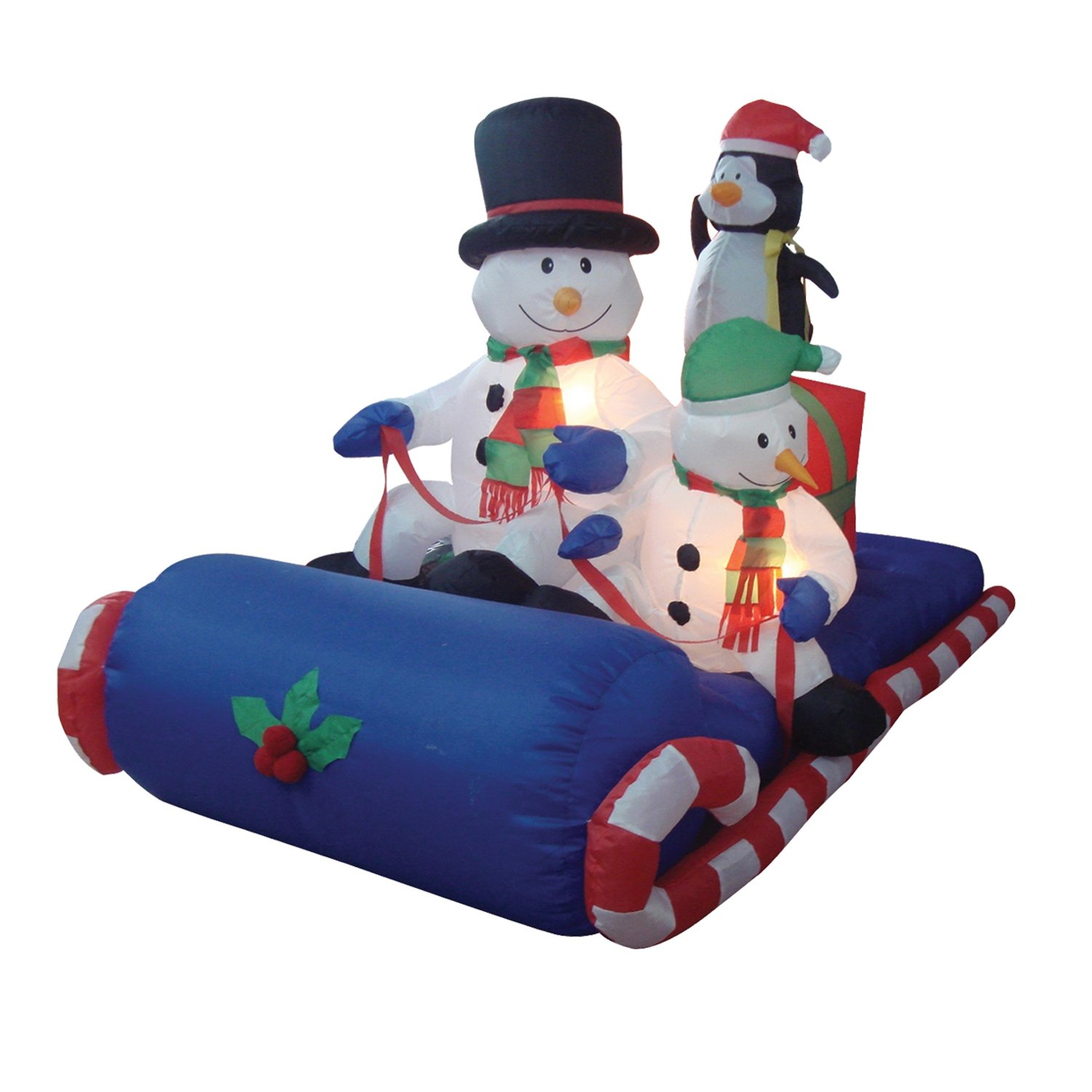 6 Foot Long Christmas Inflatable Snowman Penguin on Sleigh Yard Decoration