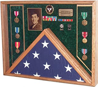 product image for All American Gifts Military Veteran Soldier Flag & Medal Display Case Shadow Box for 5x9.5 Funeral Burial Flag (Army Emblem/Green Velvet)